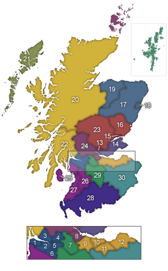 map listing all 32 Scottish Council regions